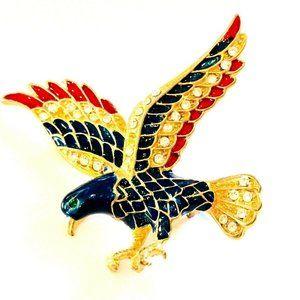 Hawk Bird Brooch Pin Jewelry Retro